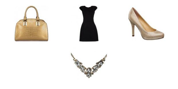Kolaż ubrań w stylu glamour
