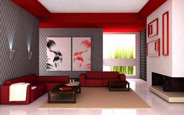 czerwone ściany w salonie