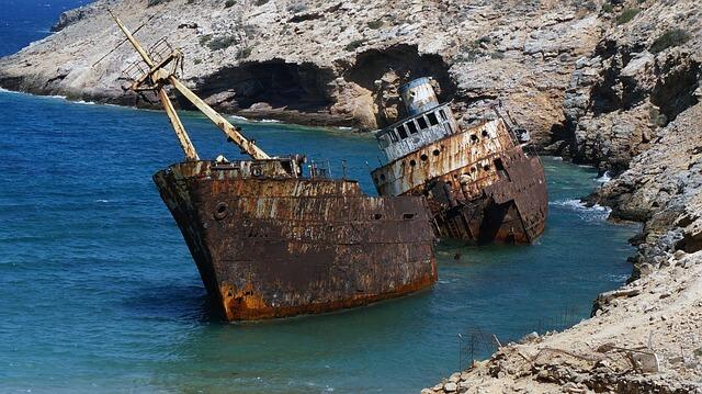 Wrak statku w Grecji